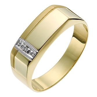 9ct Yellow Gold Men's Diamond Side Detail Ring - Product number 1018035