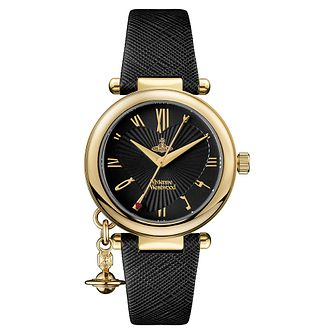 Vivienne Westwood Orb Ladies' Black Leather Strap Watch - Product number 1018507