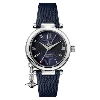 Vivienne Westwood Orb Ladies' Navy Blue Leather Strap Watch - Product number 1018515
