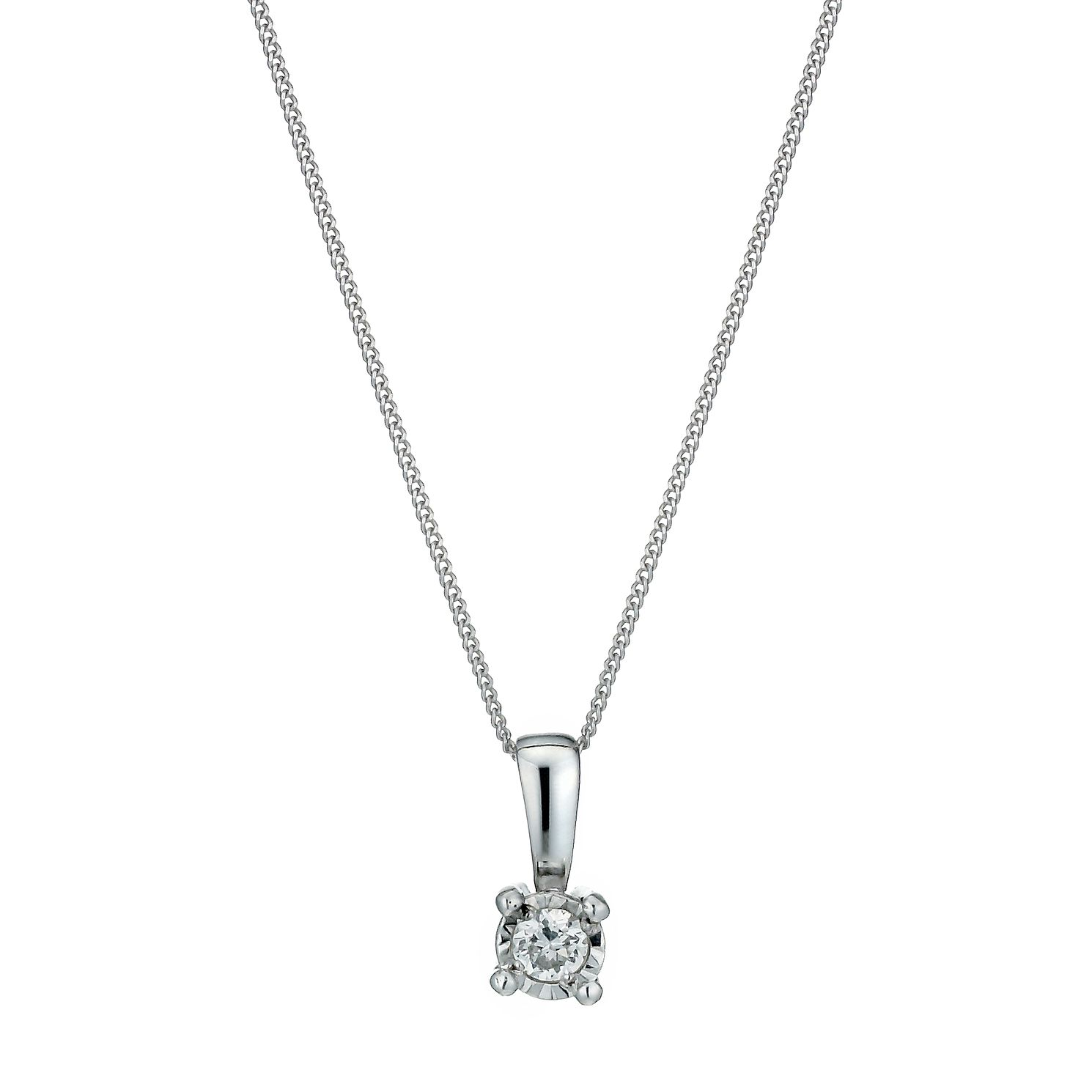 9ct White Gold Diamond Pendant Necklace - Product number 1020935
