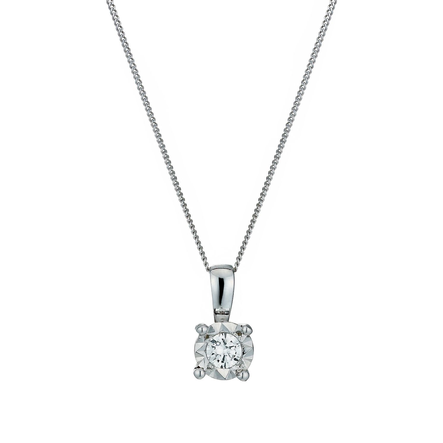 9ct White Gold Illusion 0.10ct Diamond Pendant Necklace - Product number 1020951