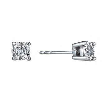 9ct White Gold Illusion Diamond Earrings - Product number 1020978