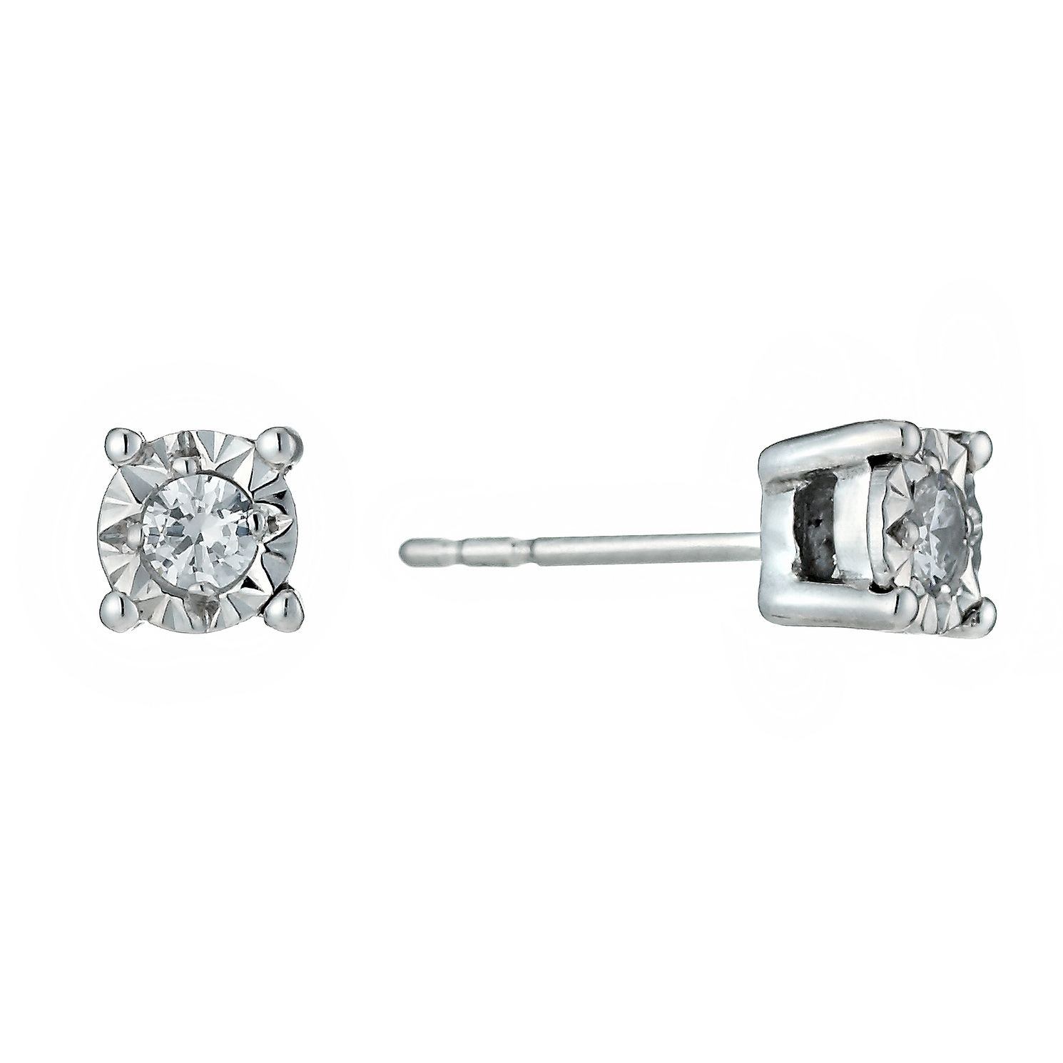 9ct White Gold Illusion 0.10ct Diamond Earrings - Product number 1020994