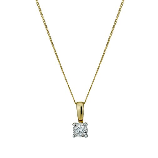 9ct Gold Illusion Diamond Pendant Necklace - Product number 1021001