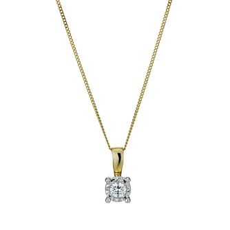 9ct Gold Illusion Diamond Pendant Necklace - Product number 1021028