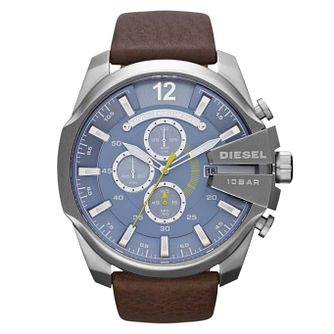 Diesel Mega Chief Men's Brown Leather Strap Watch - Product number 1021540