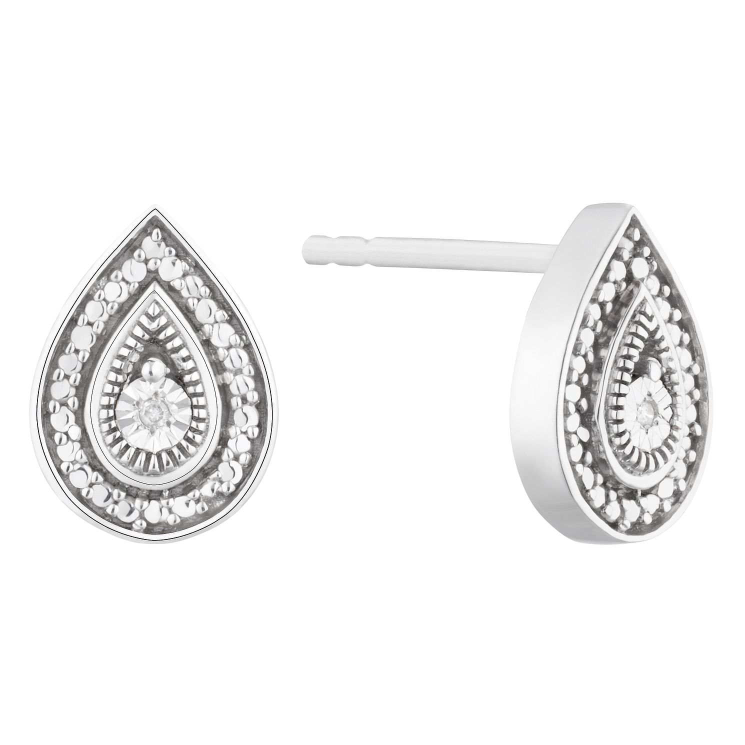 Sterling Silver Diamond Pear Stud Earrings - Product number 1022474