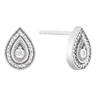 Silver Diamond Fancy Pear Stud Earrings - Product number 1022474