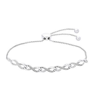 Silver Diamond Infinity Bolo Bracelet - Product number 1022954