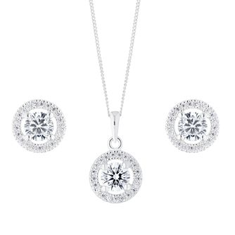 Silver Cubic Zirconia Round Halo Jewellery Gift Set - Product number 1023357