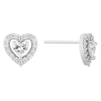 Silver Cubic Zirconia Heart Halo Stud Earrings - Product number 1023365