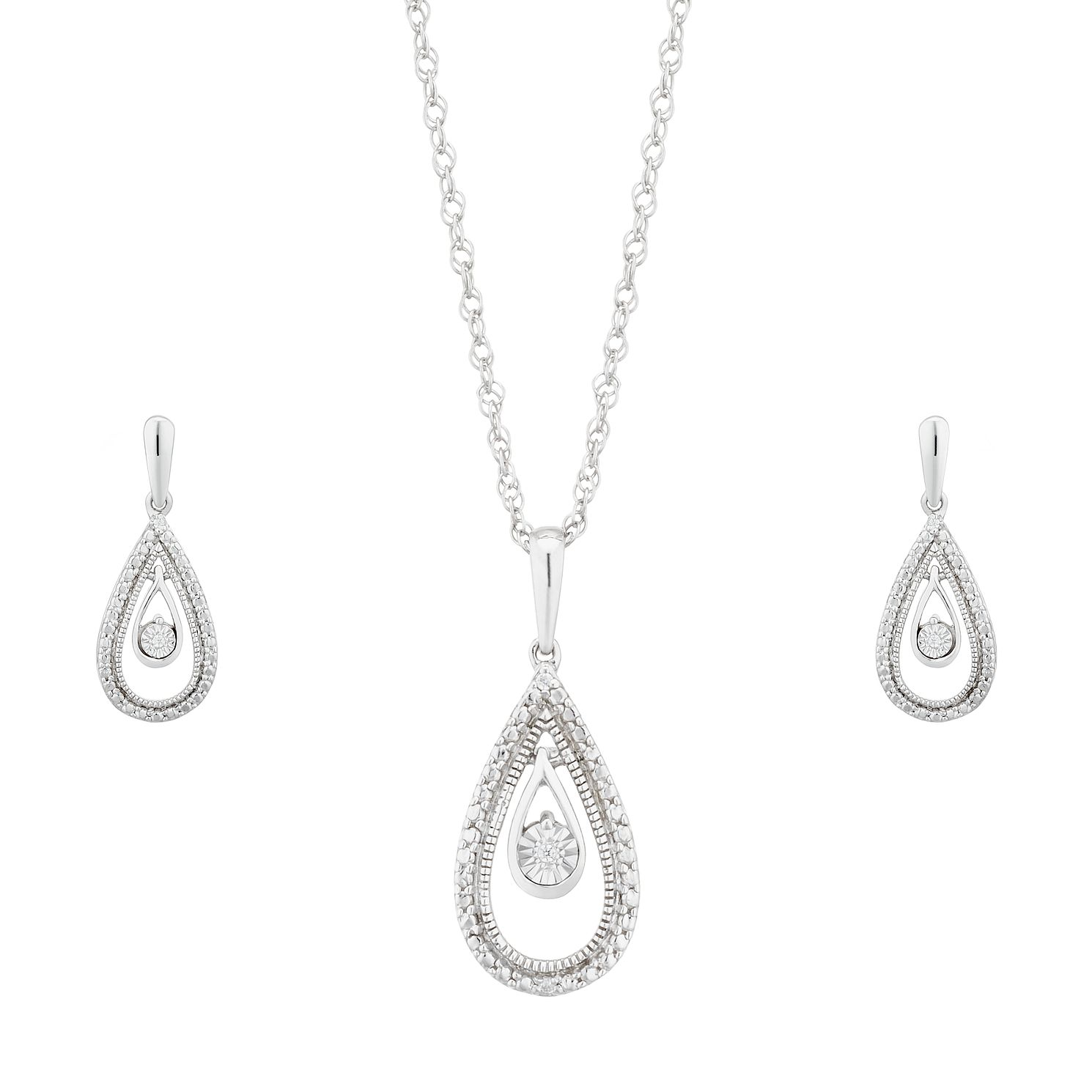 Silver Pendant Pear Drop Jewellery Gift Set - Product number 1023381