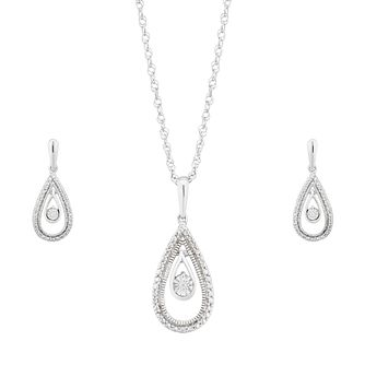 Sterling Silver Diamond Pendant & Earring Jewellery Gift Set - Product number 1023381