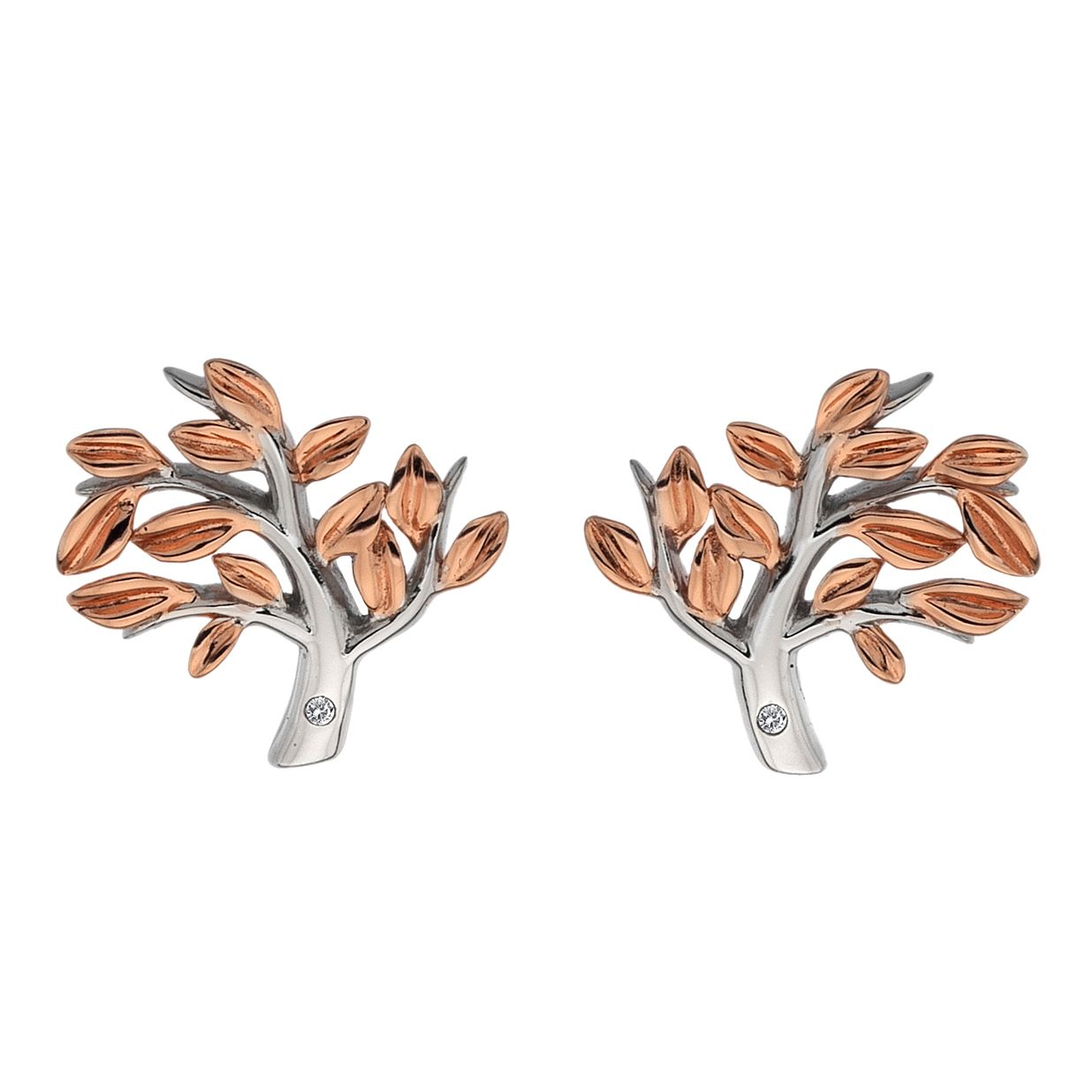 Silver  Rhodium  & Rose Gold Tree Earrings - Product number 1023705