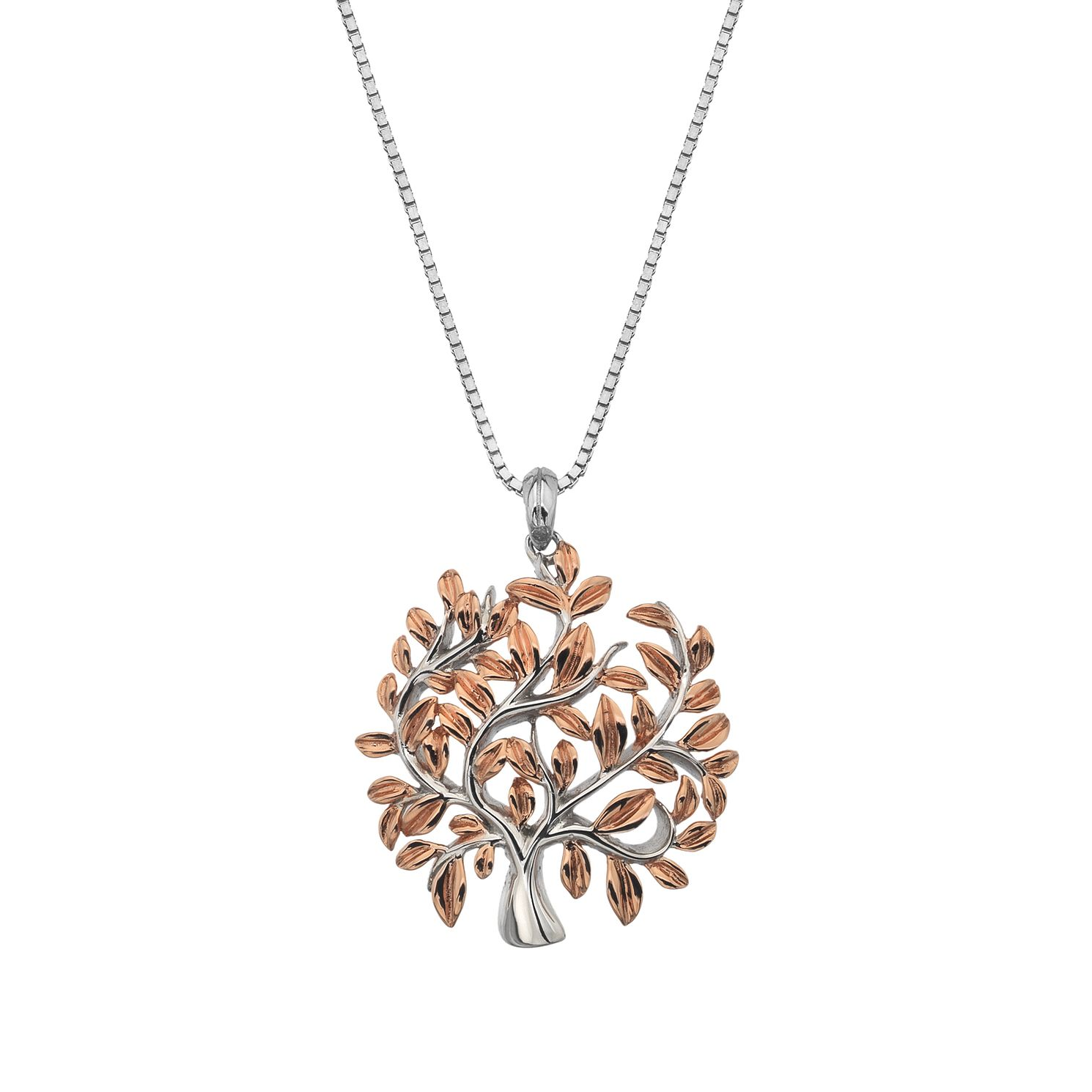 Silver Rhodium & Rose Gold Tree Pendant - Product number 1023802