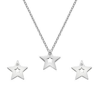 Hot Diamonds Silver Rhodium Star Earrings & Pendant Set - Product number 1023926