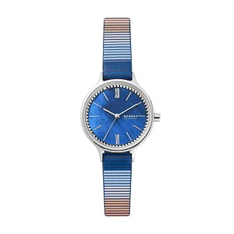 Skagen Anita Ladies' Blue Stripe Leather Strap Watch - Product number 1026208