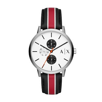 Armani Exchange Cayde Men's Stripe Leather Strap Watch - Product number 1027255
