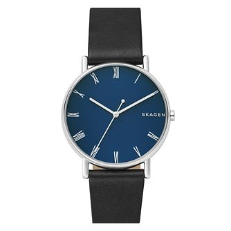 Skagen Signatur Men's Black Leather Strap Watch - Product number 1027808
