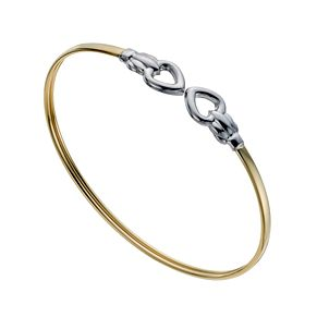 Together Bonded Silver & 9ct Gold Two Colour Heart Bangle - Product number 1029134