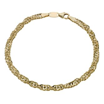 Together Silver & 9ct Bonded Gold 7.5Inch Singapore Bracelet - Product number 1029150
