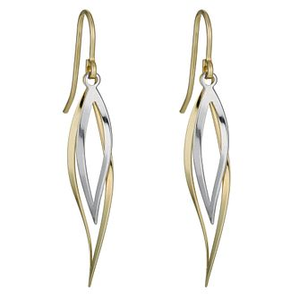 Together Silver & 9ct Bonded Gold Two Colour Twist Earrings - Product number 1031198