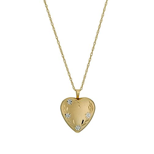 "Together Silver & 9ct Bonded Gold 18"" Flower Heart Locket - Product number 1031414"