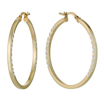 Together Silver & 9ct Bonded Gold Arrow Creole Hoop Earrings - Product number 1032097