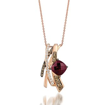 Le Vian 14ct Rose Gold Rhodalite Garnet & Diamond Pendant - Product number 1032496