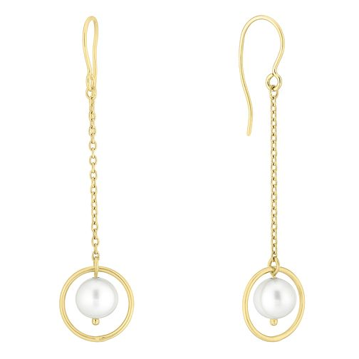 9ct Gold Cultured Freshwater Pearl Open Circle Drop Earrings - Product number 1032577