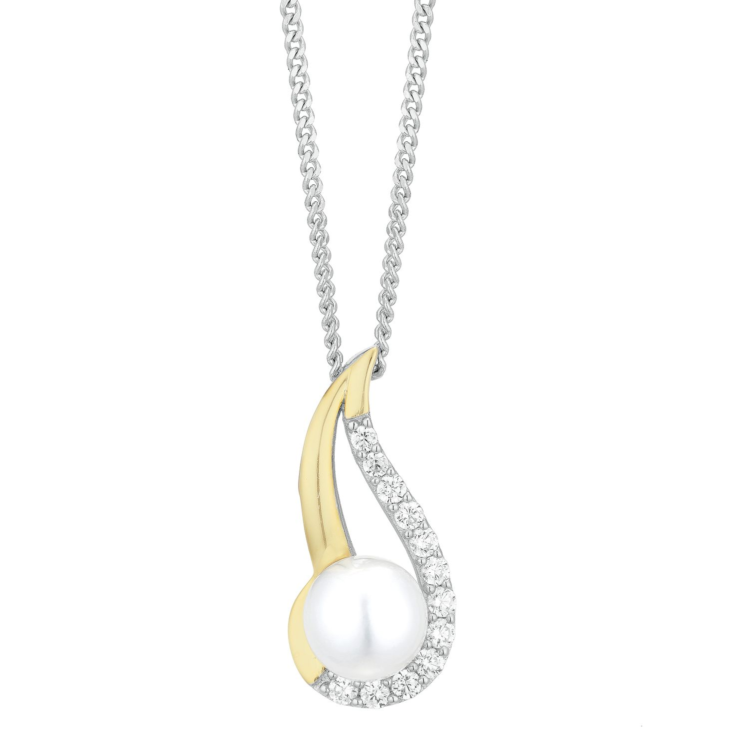 Silver Yellow Gold Plated Freshwater Pearl Pendant - Product number 1033700