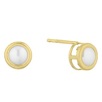 9ct Yellow Gold Cultured Freshwater Pearl Stud Earrings - Product number 1034022