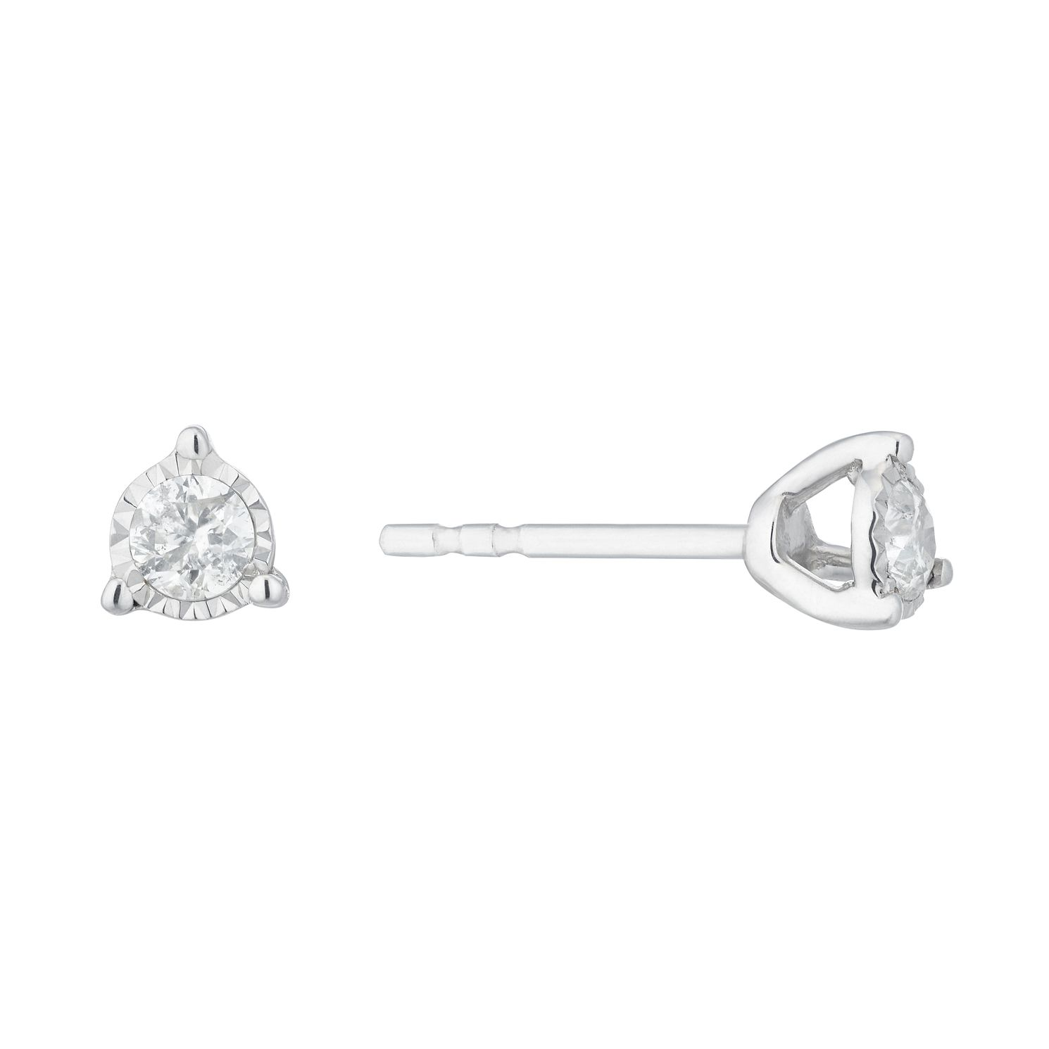 Silver & Diamond Illusion Solitaire Stud Earrings - Product number 1034189