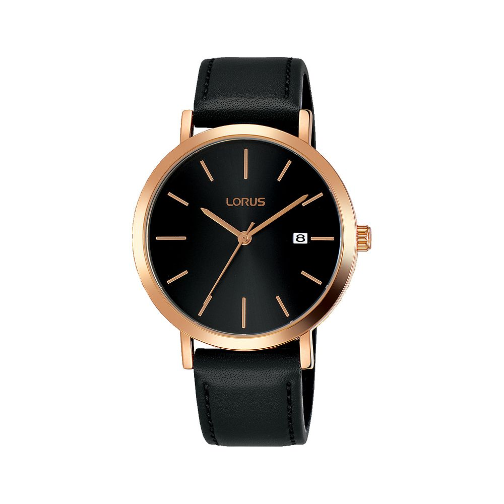 Lorus Men's Black Leather Strap Watch - Product number 1034863