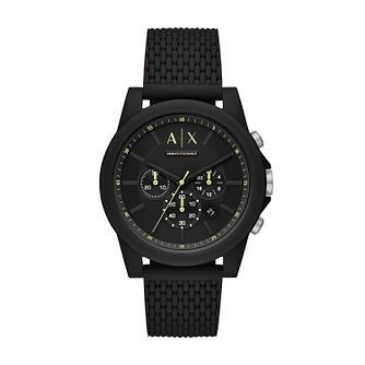 Armani Exchange Chronograph Men's Black Silicone Strap Watch - Product number 1034987
