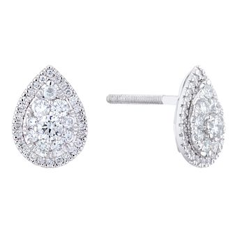 Platinum 0.75ct Total Diamond Pear Stud Earrings - Product number 1034995
