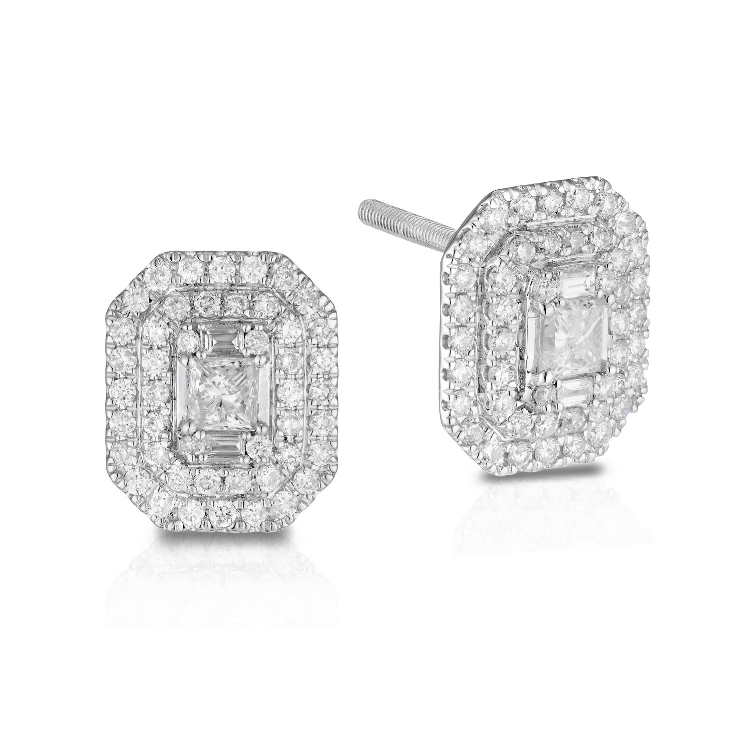 18ct White Gold 1ct Diamond Double Halo Princess Earrings - Product number 1035002