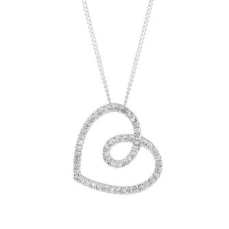 9ct White Gold 0.10ct Diamond Heart Pendant - Product number 1035010