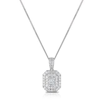18ct White Gold 1ct Diamond Double Halo Princess Pendant - Product number 1035029