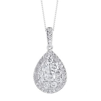 Platinum 0.75ct Total Diamond Pear Pendant - Product number 1035037