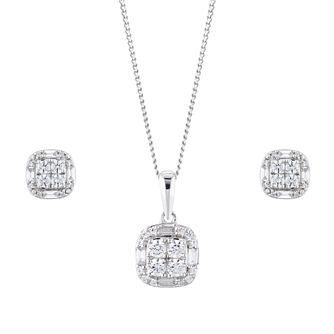 9ct White Gold 1/2ct Diamond Jewellery Gift Set - Product number 1035045