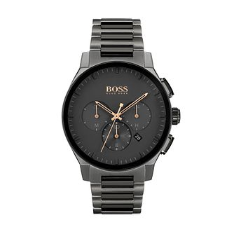BOSS Peak Men's Grey Ion-Plated Bracelet Watch - Product number 1035053