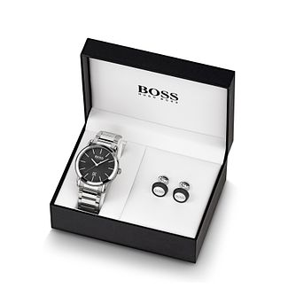 BOSS Classic Men's Watch & Round Cufflinks Gift Set - Product number 1035088