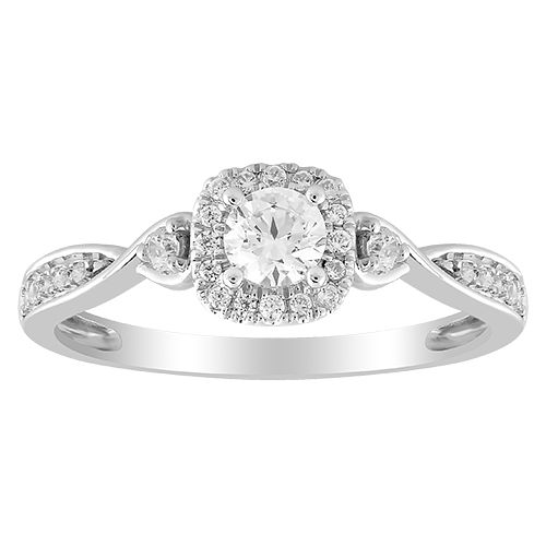 9ct White Gold 0.33ct Total Diamond Solitaire Twist Ring - Product number 1035096