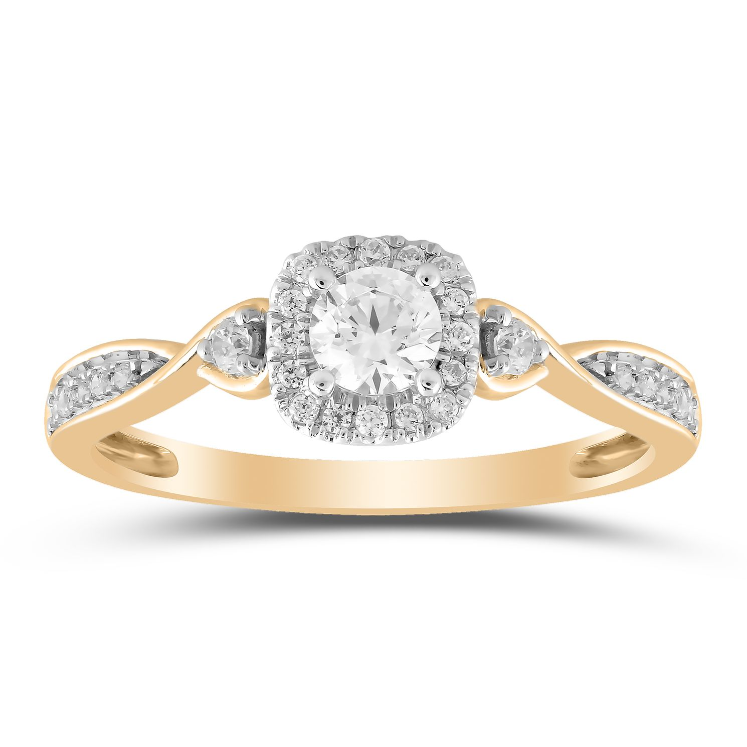 9ct Yellow Gold 0.33ct Total Diamond Solitaire Twist Ring - Product number 1035266