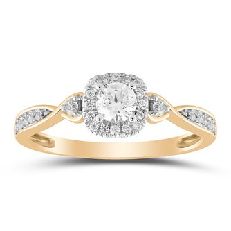 9ct Yellow Gold 1/3ct Diamond Solitaire Twist Ring - Product number 1035266