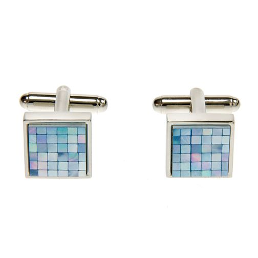 Simon Carter square chequer blue mother of pearl cufflink - Product number 1036521