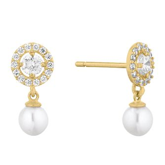 9ct Yellow Gold Cultured Freshwater Pearl Halo Drop Earrings - Product number 1036920