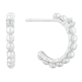 Silver Cultured Freshwater Pearl Hoop Earrings - Product number 1037110