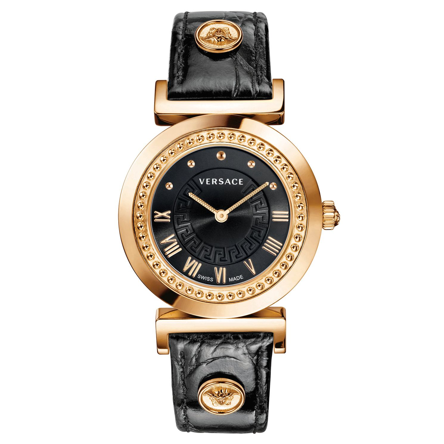 Versace Ladies' Rose Gold Plated Vanity Black Strap Watch - Product number 1042009
